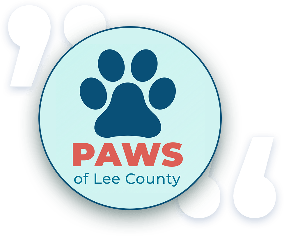 Paws of Lee County Southwest Florida   Logo and Quotation marks